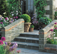 Garden Paving with steps and feature walls