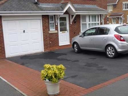 Tarmac Driveway with Block Paving Footpath and Border