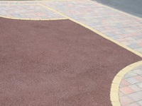 Red Tarmac Driveway with Block Paved Border