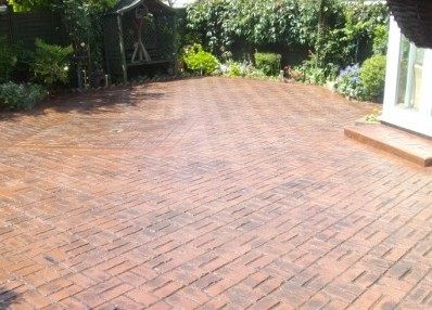 Old Brick Basket Weave Stamped Concrete