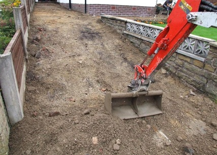 Excavation of a domestic driveway for the installation of stamped concrete