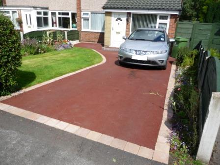 Red Tarmacadam Driveway with Block Paving Border