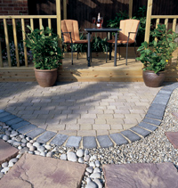 Block Paving, Natural Stone and Pebbles combine to provide the Perfect Patio Seating Area