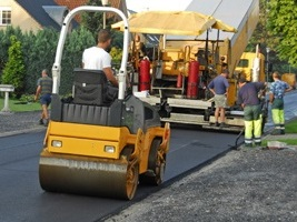 Compacting a Newly Installed Stone Mastic Asphalt Access Road