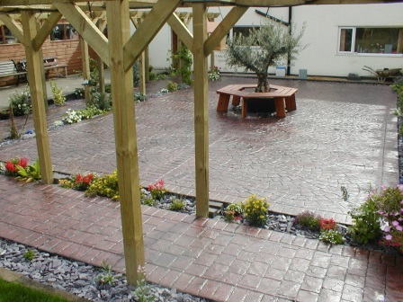 Pattern Imprinted Concrete Patio with Seating Area